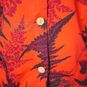 50s WAIKIKI SPORTS HAWAIIAN TEA TIMER COTTON SHIRT IN VIVID ORANGE - M-L