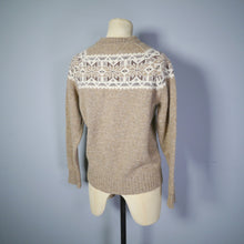 Load image into Gallery viewer, BROWN FAIRISLE 70s DOES 40s CAMERON OF EDINBURGH WOOL JUMPER / SWEATER - M