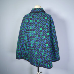 DARK BLACK, BLUE AND GREEN 60s / 70s WELSH WOOL TAPESTRY CAPE BY DAVID DESIGN - M