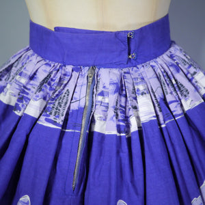 50s HANDMADE BLUEY PURPLE EAST ASIAN LANDSCAPE BORDER PRINT SKIRT - 25.5-26""
