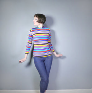 COLOURFUL RAINBOW STRIPE 60s 70s TUNIC / T-SHIRT TOP - S