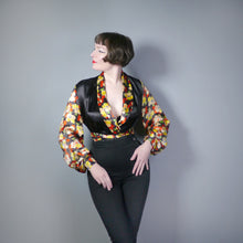 Load image into Gallery viewer, 30s SILKY BLACK WRAP BLOUSE WITH FLORAL BALLOON SLEEVES - XS-S