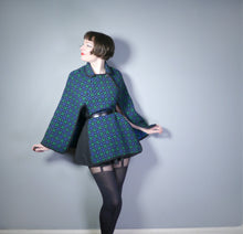 Load image into Gallery viewer, DARK BLACK, BLUE AND GREEN 60s / 70s WELSH WOOL TAPESTRY CAPE BY DAVID DESIGN - M