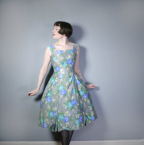 GREY 50s PARTY DRESS WITH GREEN AND BLUE FLORAL PRINT - S
