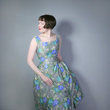 Load image into Gallery viewer, GREY 50s PARTY DRESS WITH GREEN AND BLUE FLORAL PRINT - S