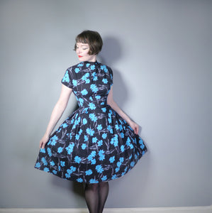 50s BLACK AND VIVID BLUE FLORAL FULL SKIRTED DRESS WITH HIGH CHOKER NECKLINE - S