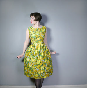 YELLOW AND GREEN 50s PAINTERLY FLORAL COTTON DAY DRESS - VOLUP / L