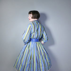 COLOURFUL STRIPED 50s 60s SHIRTWAISTER COTTON DAY DRESS WITH FULL SKIRT - S-M