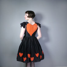 Load image into Gallery viewer, VINTAGE COSTUME / THEATRICAL LOVE HEART APPLIQUE SKATER DRESS - S