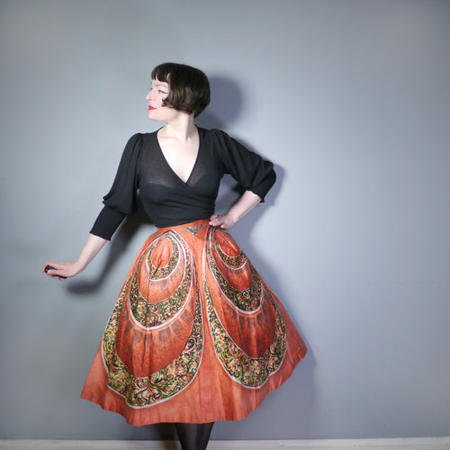 RUST RED ABSTRACT CIRCULAR LOOP PATTERN 50s FULL SKIRT - 28.5