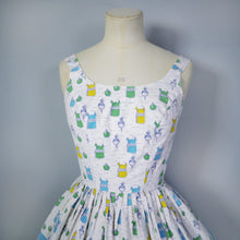 Load image into Gallery viewer, 50s NOVELTY BORDER PRINT SUN DRESS WITH SPICES, VEGETABLES, LARDER THEME - XS