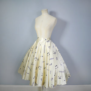 70s / 80s does 50s NOVELTY MUSICAL NOTES PRINT FULL CIRCLE SKIRT - 28.5""
