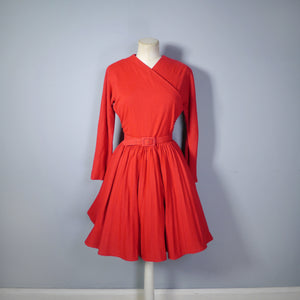 EARLY 50s NANTUCKET NATURALS RED WOOL DRESS WITH PLEATED SKATER SKIRT - S
