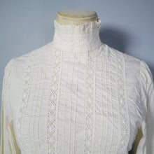 Load image into Gallery viewer, 70s / 80s LAURA ASHLEY PIN TUCK AND LACE VICTORIAN GOVERNESS BLOUSE - XS