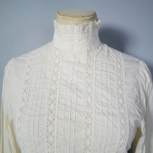 70s / 80s LAURA ASHLEY PIN TUCK AND LACE VICTORIAN GOVERNESS BLOUSE - XS