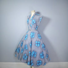 Load image into Gallery viewer, 50s GREY WITH VIVID TURQUOISE FLOWERS PRINT FULL SKIRTED DAY DRESS - S