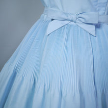 Load image into Gallery viewer, 50s 60s LIGHT BLUE FULL SKIRTED DRESS WITH PLEAT AND BOW DETAILS - S-M