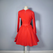 Load image into Gallery viewer, EARLY 50s NANTUCKET NATURALS RED WOOL DRESS WITH PLEATED SKATER SKIRT - S