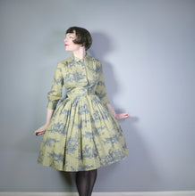 Load image into Gallery viewer, 50s 60s OLIVE GREEN TOILE DE JOUY STYLE NOVELTY PRINT FULL SKIRTED DRESS - S