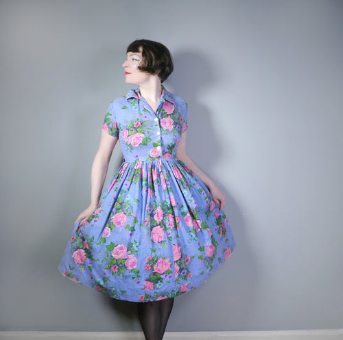 50s CORNFLOWER BLUE AND PINK FLORAL ROSE PRINT COTTON SHIRTWAISTER DRESS WITH FULL SKIRT - M