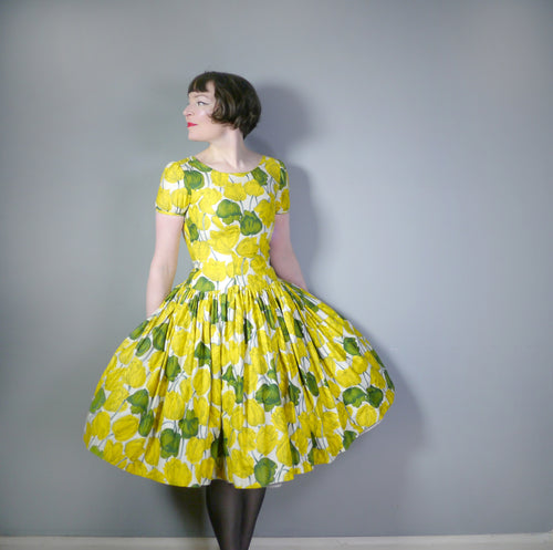 50s YELLOW TULIP PRINT DRESS WITH HUGE SKIRT AND PUFF SLEEVE - S