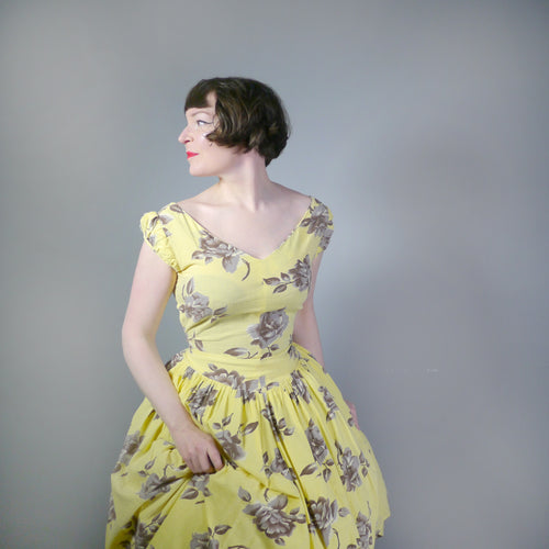 YELLOW 50S SEERSUCKER ROSE PRINT DROP WAIST PRINCESS DRESS - M