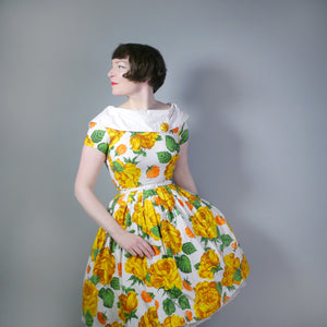 YELLOW FLORAL 50s DRESS WITH SHAWL COLLAR AND FULL SKIRT - XS-S / PETITE FIT