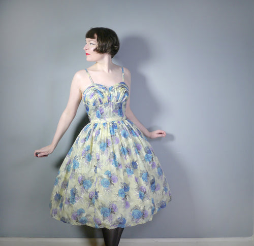 50s 2 PIECE FLORAL NYLON SUN DRESS WITH SCULPTED BUST AND MATCHING BOLERO - M-L