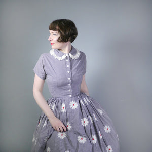 50s 2 PIECE HALTER SUN DRESS AND BOLERO IN FLORAL EMBROIDERED GINGHAM - S