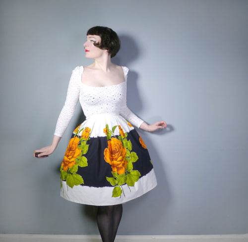 50s 60s BLACK AND WHITE FULL SKIRT WITH HUGE ORANGE ROSE BORDER PRINT - 26