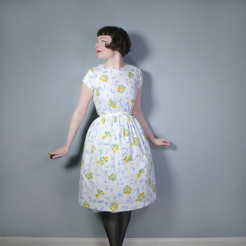 HANDMADE 50s COTTON DAY DRESS IN SUMMERY YELLOW ROSE FLORAL PRINT - S