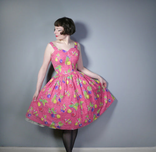 PINK NOVELTY FRUIT PRINT 50s FULL SKIRTED COTTON SUN DRESS - XS