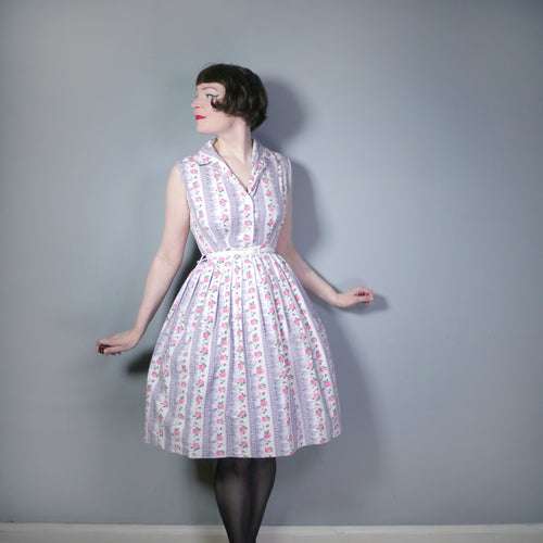 ROMANTIC 50s 60s SHIRTWAISTER COTTON DAY DRESS IN PINK ROSE PRINT - S / PETITE FIT