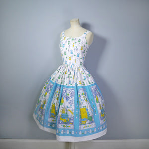 50s NOVELTY BORDER PRINT SUN DRESS WITH SPICES, VEGETABLES, LARDER THEME - XS