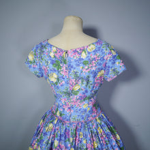 Load image into Gallery viewer, 50s LIGHT BLUE FLORAL DAY DRESS WITH FULL SKIRT AND BOW DETAIL - XS (PETITE FIT)