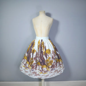 50s NOVELTY SCENIC LANDSCAPE TREE BORDER PRINT FULL SKIRT - 27""