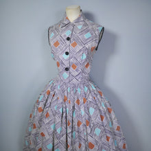Load image into Gallery viewer, 50s PAINTERLY MODERNIST DIAMOND AND STRIPE PRINT FULL SKIRTED SHIRTWAISTER DRESS - S