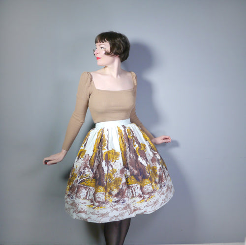 50s NOVELTY SCENIC LANDSCAPE TREE BORDER PRINT FULL SKIRT - 27