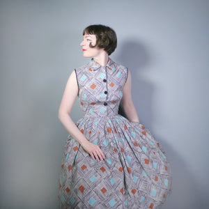 50s PAINTERLY MODERNIST DIAMOND AND STRIPE PRINT FULL SKIRTED SHIRTWAISTER DRESS - S