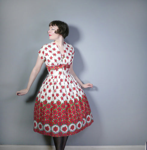 ROMANTIC RED FLORAL PRINTED 50s COTTON SUN DRESS AND BOLERO SET - M