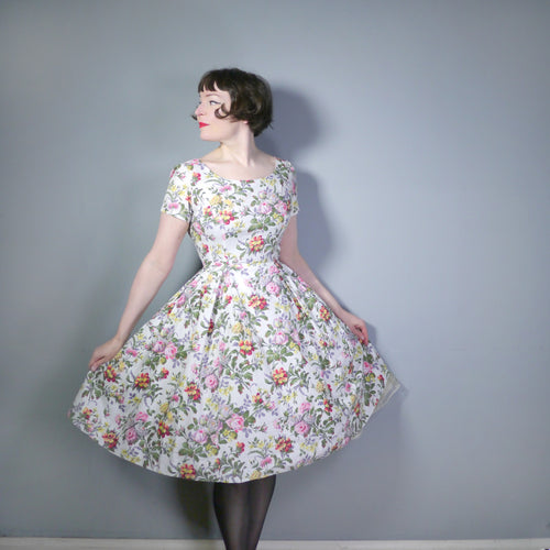 ROMANTIC SUMMERY FLORAL 50s FIT AND FLARE COTTON DRESS - XS-S