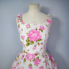 Load image into Gallery viewer, 50s 60s ROMANTIC PINK ROSE COCKTAIL / PARTY DRESS - XS