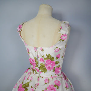 50s 60s ROMANTIC PINK ROSE COCKTAIL / PARTY DRESS - XS