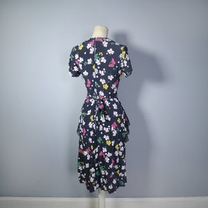 40s BUTTERFLY PRINT RAYON DRESS WITH PEPLUM AND KEYHOLE NECK - XS