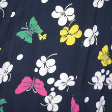 Load image into Gallery viewer, 40s BUTTERFLY PRINT RAYON DRESS WITH PEPLUM AND KEYHOLE NECK - XS