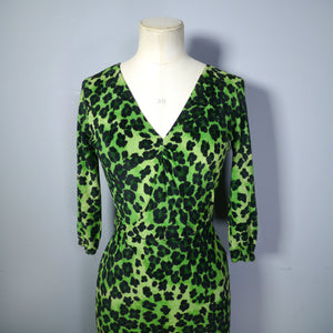 STRAWBERRY STUDIO 80s GREEN LEOPARD PRINT VELOUR BACKLESS WIGGLE DRESS - XS-S