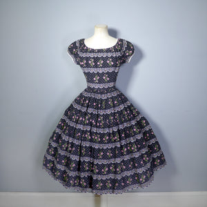 BLACK 50s FULL SKIRTED PUFF SLEEVE DRESS WITH FAUX LACE AND EMBROIDERY PRINT - S