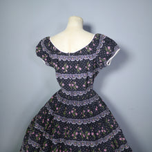 Load image into Gallery viewer, BLACK 50s FULL SKIRTED PUFF SLEEVE DRESS WITH FAUX LACE AND EMBROIDERY PRINT - S