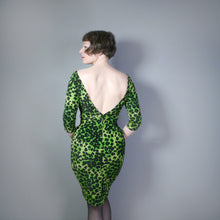 Load image into Gallery viewer, STRAWBERRY STUDIO 80s GREEN LEOPARD PRINT VELOUR BACKLESS WIGGLE DRESS - XS-S