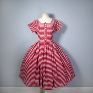 BRIGHT RED 50s DIRNDL STYLE FULL SKIRTED COTTON DAY DRESS - XS-S